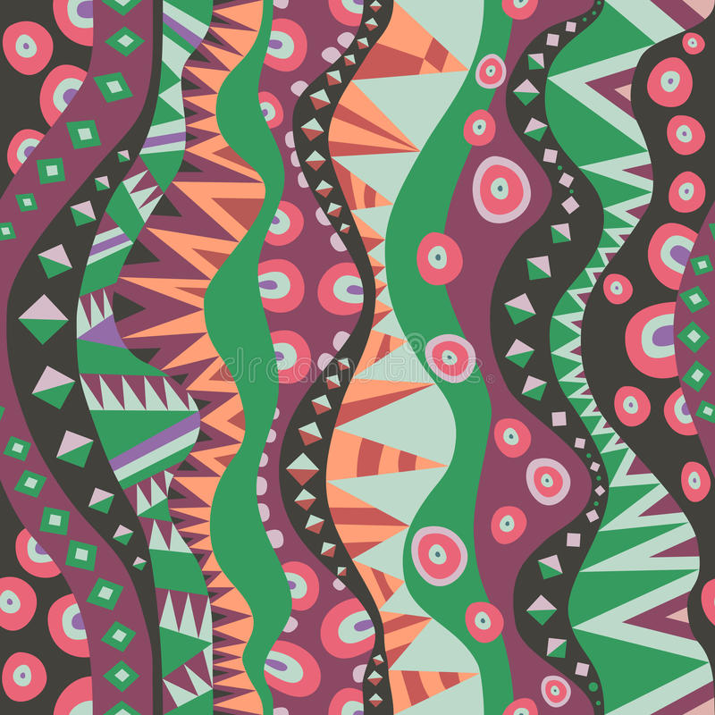 Bezszwowy motyw Z Pionowo Plemiennymi aborygenu wzoru rocznika kolorami ilustracja wektor