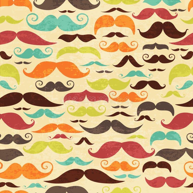 Bezszwowy moustashe tło w rocznika stylu ilustracja wektor