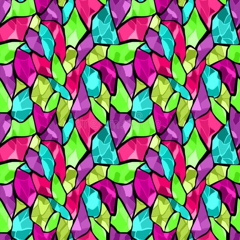 Bezszwowy mozaiki szkła płytki łamający wzór ilustracja wektor