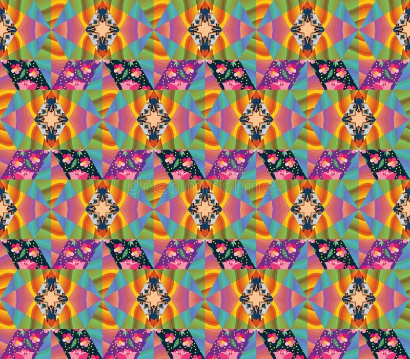 Bezszwowy multicolor patchworku wzór royalty ilustracja