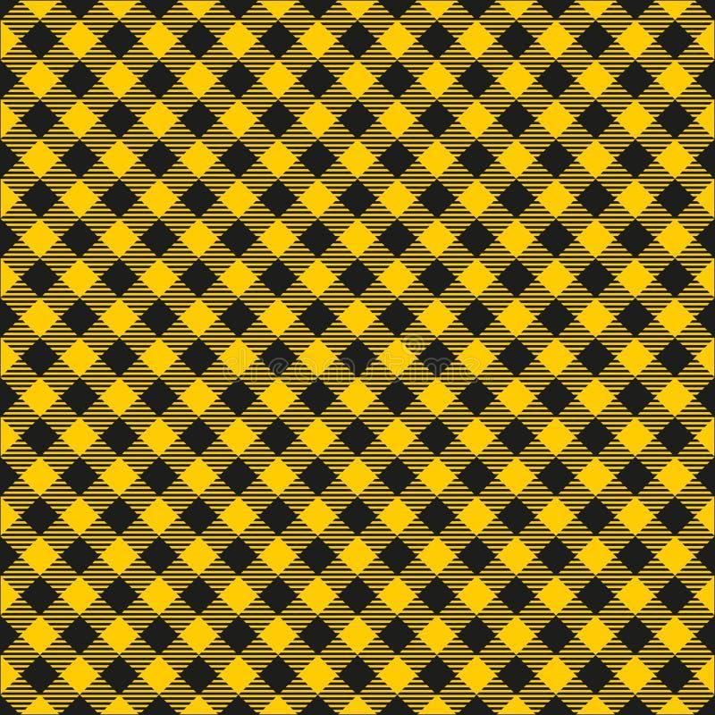 Bezszwowy musztarda kolor żółty i Czarna W kratkę tkanina wzoru tła tekstura ilustracji