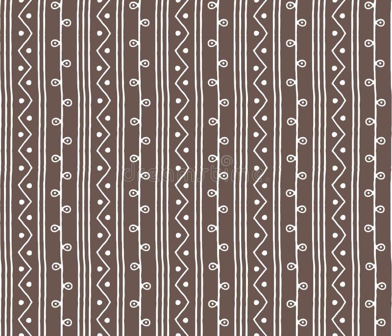 Bezszwowy nakreślenie wektoru wzór Vertical kapuje linie i zygzag z okręgami na tle Ręka rysująca afrykanina stylu tekstura royalty ilustracja