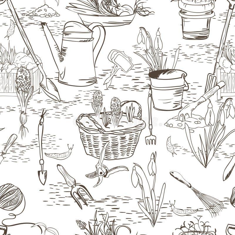 Bezszwowy nakreślenie z ogrodnictw narzędziami ilustracja wektor