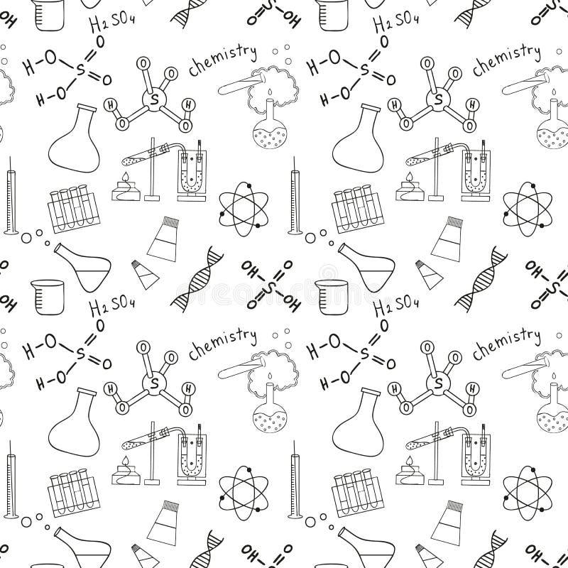 Download Bezszwowy Nakreślenie Nauki Doddle Elementy Ilustracja Wektor - Ilustracja złożonej z arte, chemia: 53793278