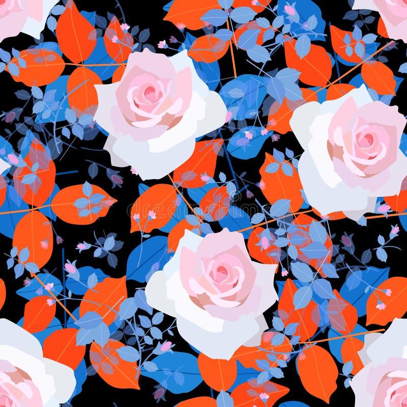 Bezszwowy naturalny wzór z światłem - menchii róża kwitnie, błękita i pomarańcze liście i mali branchs z malutkimi pączkami royalty ilustracja