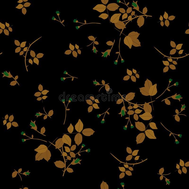 Bezszwowy naturalny wzór z złotym - brązowi spada liście i mali branchs na czarnym tle royalty ilustracja