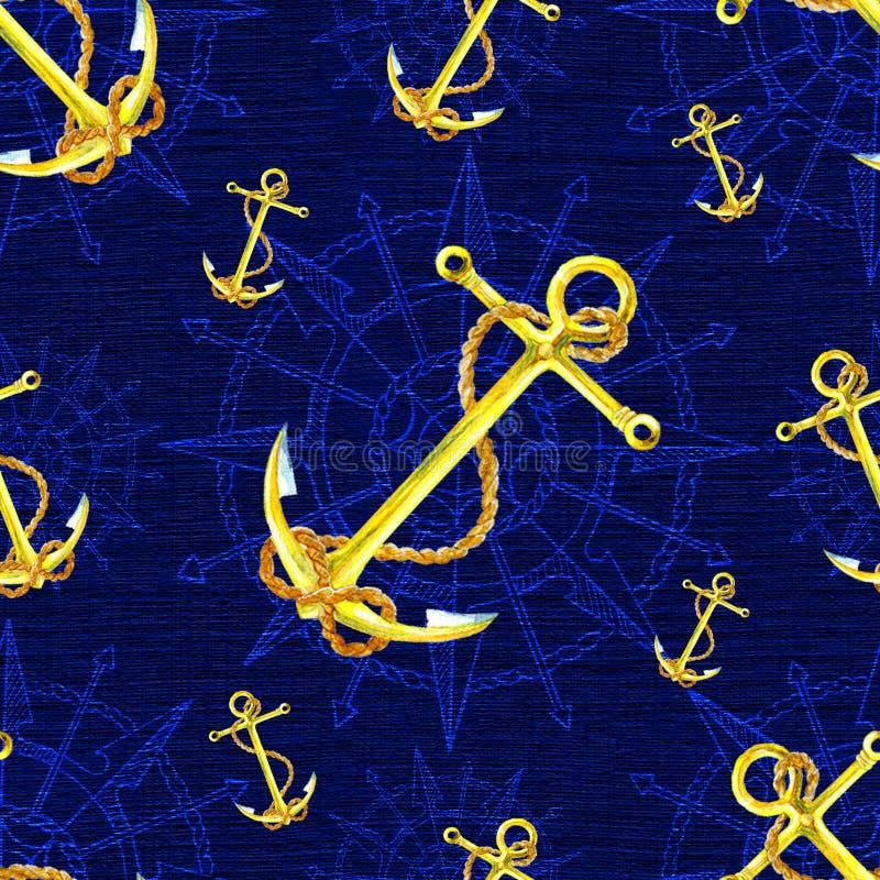 Bezszwowy nautyczny tło z kotwicy i wiatru kompasem na błękicie royalty ilustracja