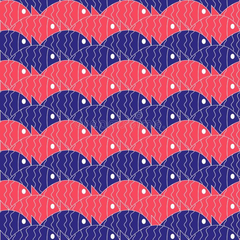 Bezszwowy nautyczny wzór z ryba ilustracji