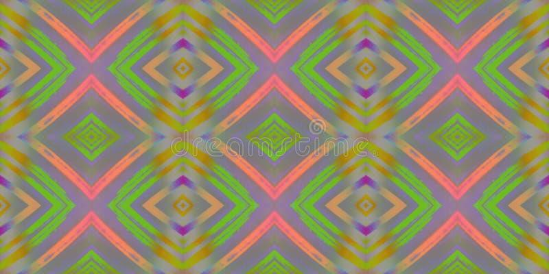 Bezszwowy niekończący się wielostrzałowy jaskrawy ornament barwiący geometryczni kształty royalty ilustracja