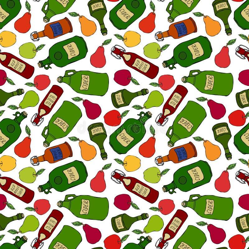 Bezszwowy Niekończący się wzór Apple, bonkreta, cydr w Różnych Szklanych rocznik butelkach Prętowy menu Jesieni żniwa kolekcja re royalty ilustracja