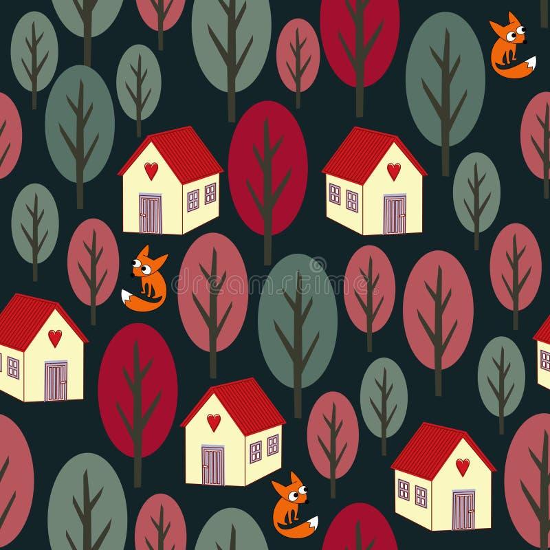Bezszwowy nocy jesieni wzór kolorowi drzewa, domy, śnieg i lisy -, royalty ilustracja