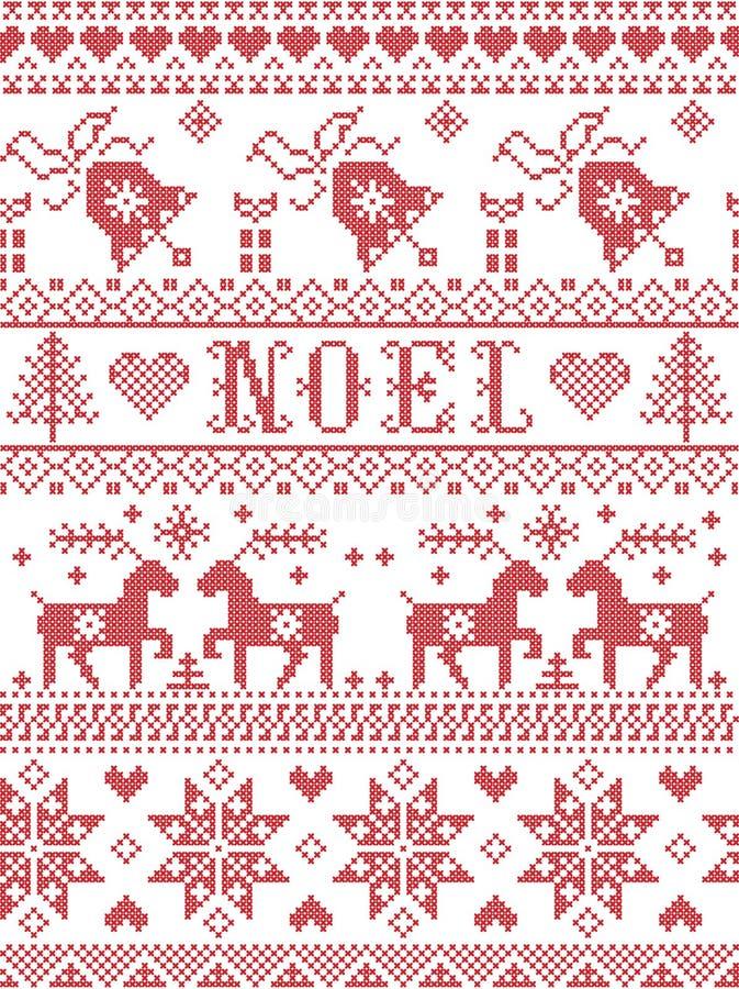 Bezszwowy Noel tkaniny Skandynawski styl, inspirowany Norweskimi bożymi narodzeniami, świąteczny zima wzór w przecinającym ściegu ilustracji