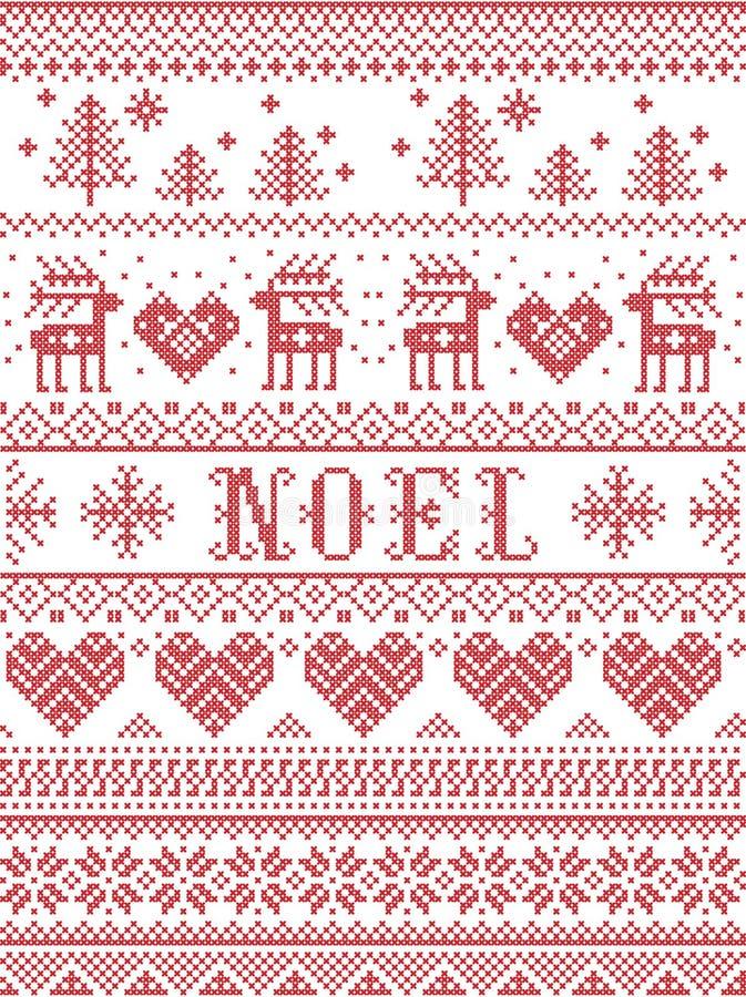 Bezszwowy Noel tkaniny Skandynawski styl, inspirowany Norweskimi bożymi narodzeniami, świąteczny zima wzór w przecinającym ściegu royalty ilustracja
