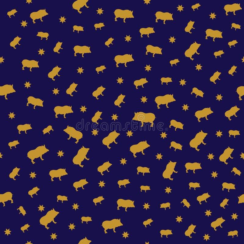 Bezszwowy nowego roku 2019 tło z świniami ilustracji