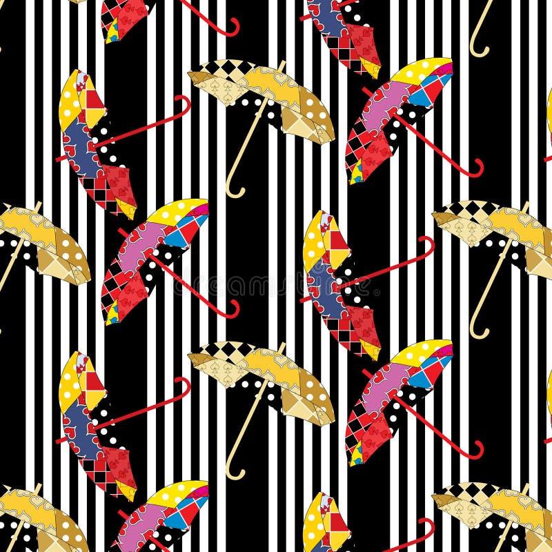 Bezszwowy obdzierający czarny i biały wzór z kolorowymi patchworków parasolami royalty ilustracja