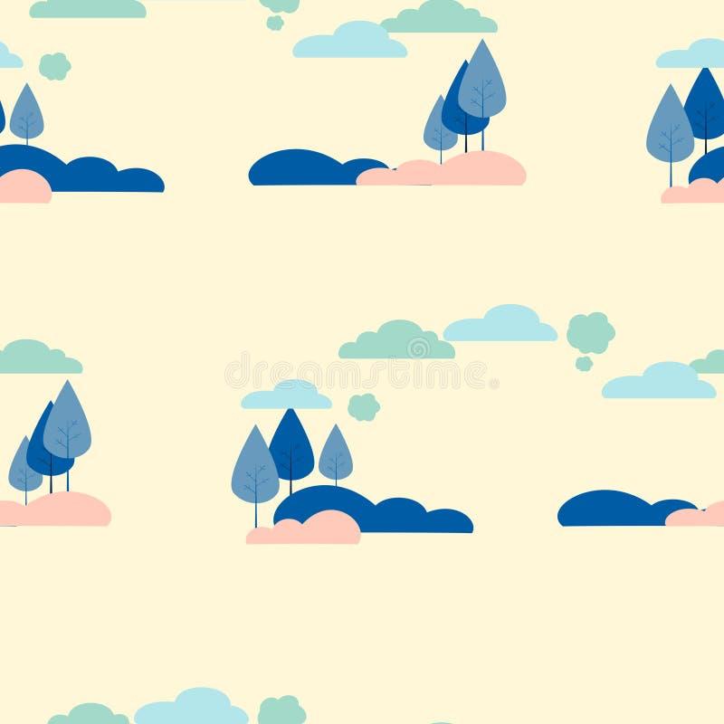Bezszwowy obrazek, tło Natura, drzewa i krzaki, W minimalisty stylu kresk?wki mieszkania wektorze royalty ilustracja