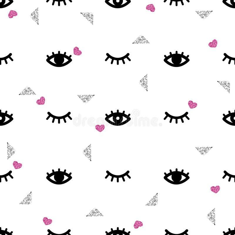 Bezszwowy oko i rzęsa z błyskotliwością deseniujemy tło ilustracji