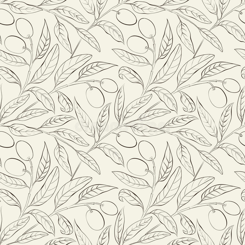 Bezszwowy oliwny tło. ilustracja wektor