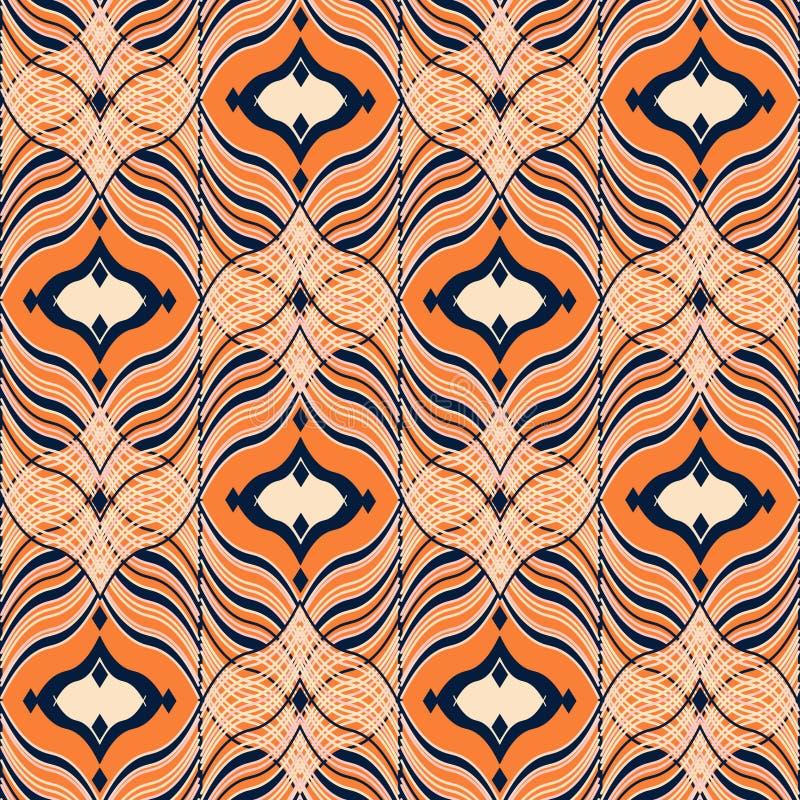 Bezszwowy orientała wzór, czerń, pomarańczowy ornament ilustracji