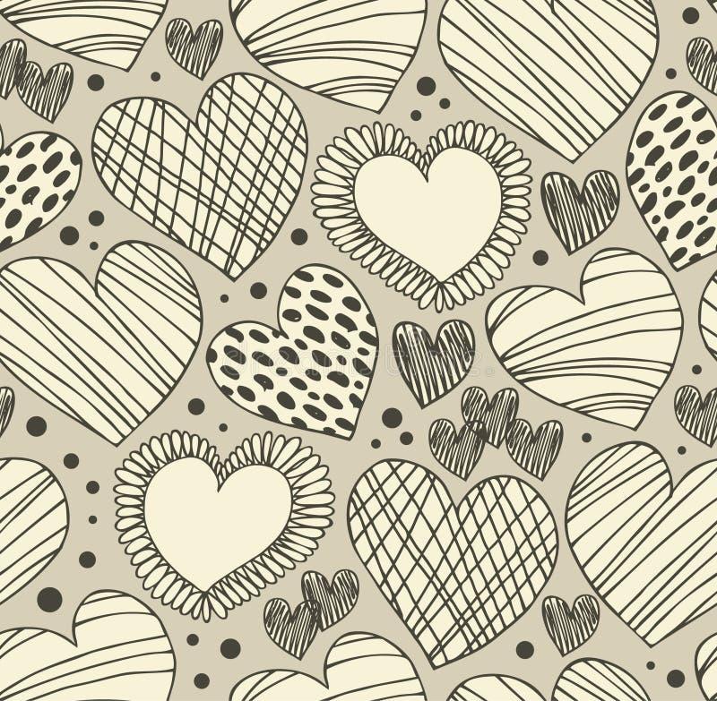 Bezszwowy ornamentacyjny wzór z sercami Niekończący się ręka rysujący śliczny tło Ozdobna tekstura z dużo szczegóły royalty ilustracja