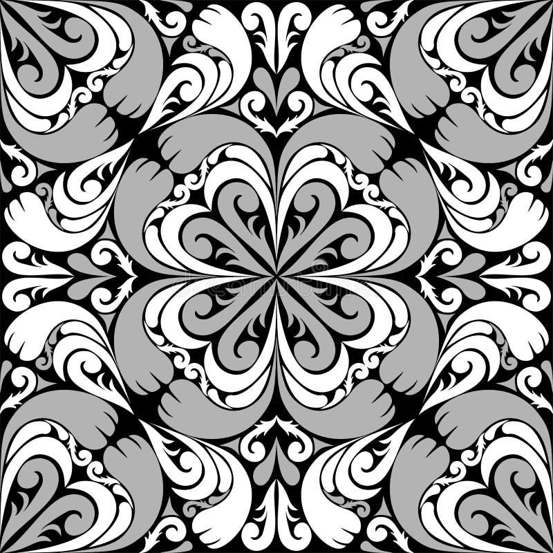 Bezszwowy ornamentacyjny wzór z szarobiałym ornamentem. ilustracja wektor