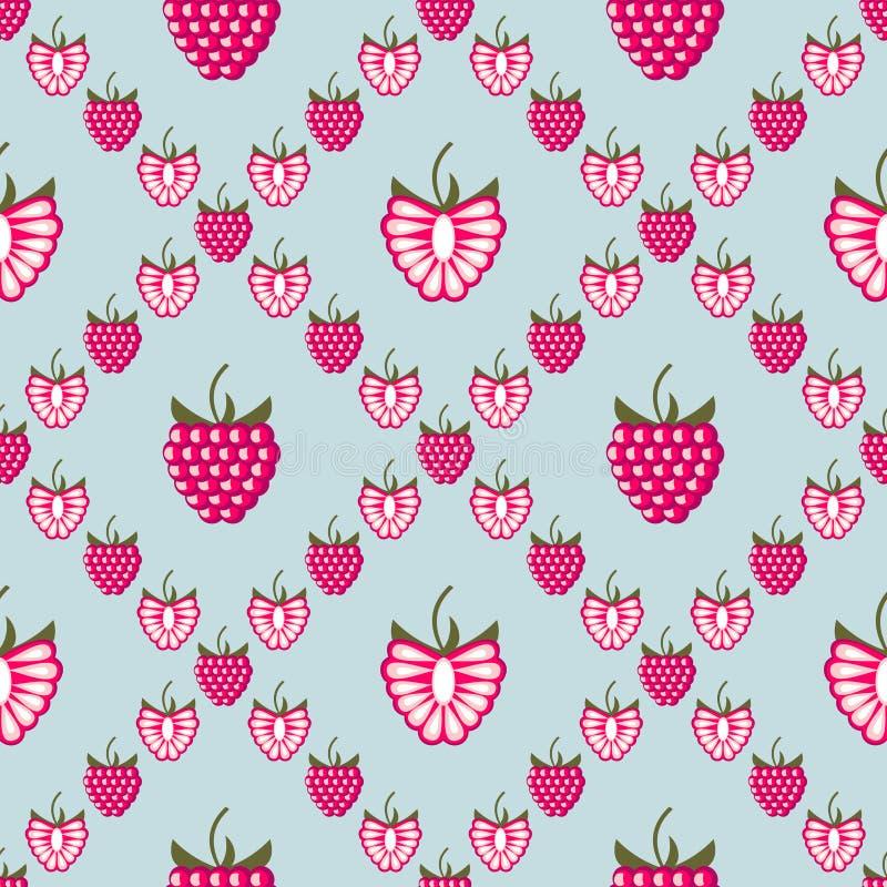 Bezszwowy owoc wektoru wzór, jaskrawy geometryczny tło z malinkami ilustracji