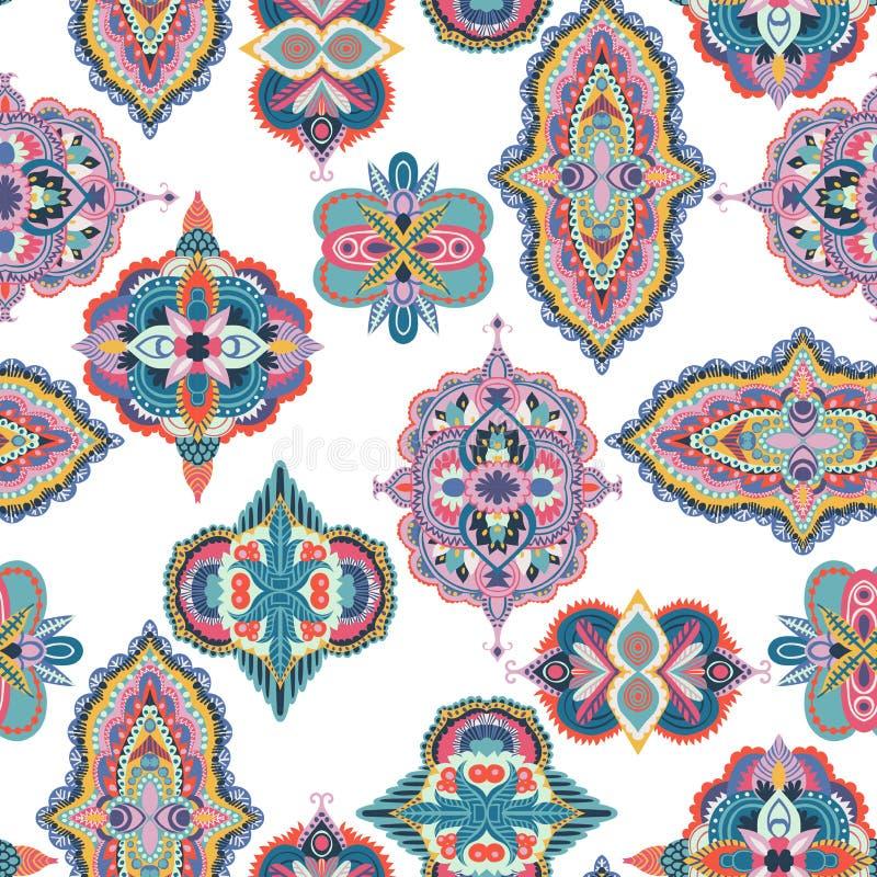 bezszwowy paisley wzoru Kolorowy kwiecisty ornament ilustracja wektor