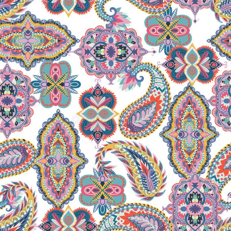 bezszwowy paisley wzoru Kolorowy kwiecisty ornament Orientalny projekt dla tkaniny, druki, opakunkowy papier, karta, zaproszenie, ilustracji