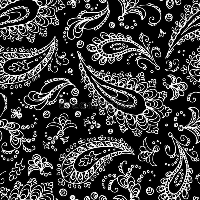 bezszwowy paisley wzoru Turecki ogórek - ślad białe kwiaty ilustracja wektor