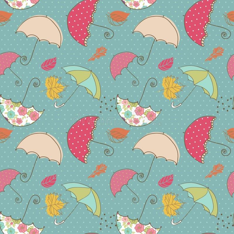 Bezszwowy parasola wzór royalty ilustracja