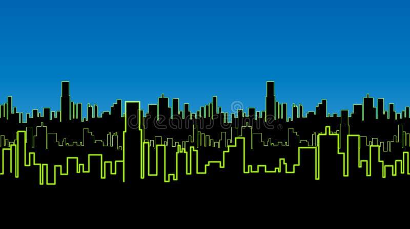 Bezszwowy pasek miasto przy nocą z zielonym neonowym kolorem Żywa łuna kontury wysocy budynki royalty ilustracja