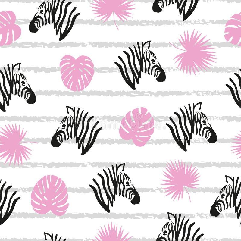 Bezszwowy pasiasty abstrakta wzór z zebr głowami i tropikalnymi liśćmi ilustracja wektor