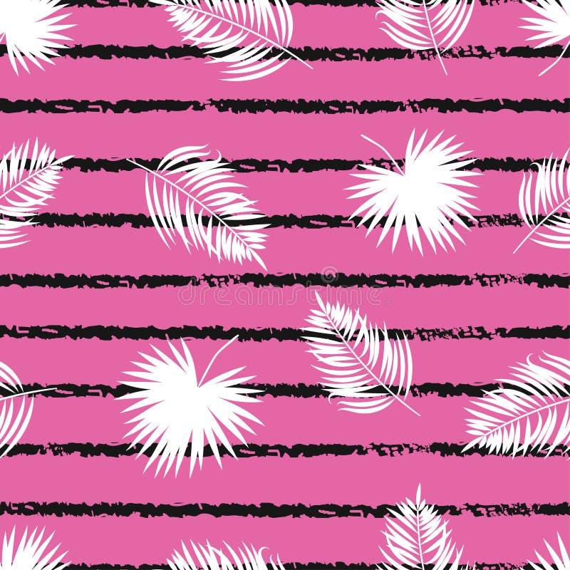 Bezszwowy pasiasty tropikalny wzór z palmowymi liśćmi ilustracji