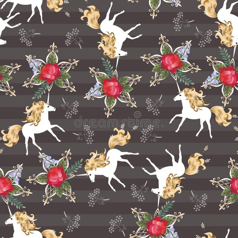 Bezszwowy pasiasty wzór z magicznymi białymi jednorożec i czerwieni różą kwitnie na zmroku - szary tło w wektorze Druk dla tkanin ilustracja wektor