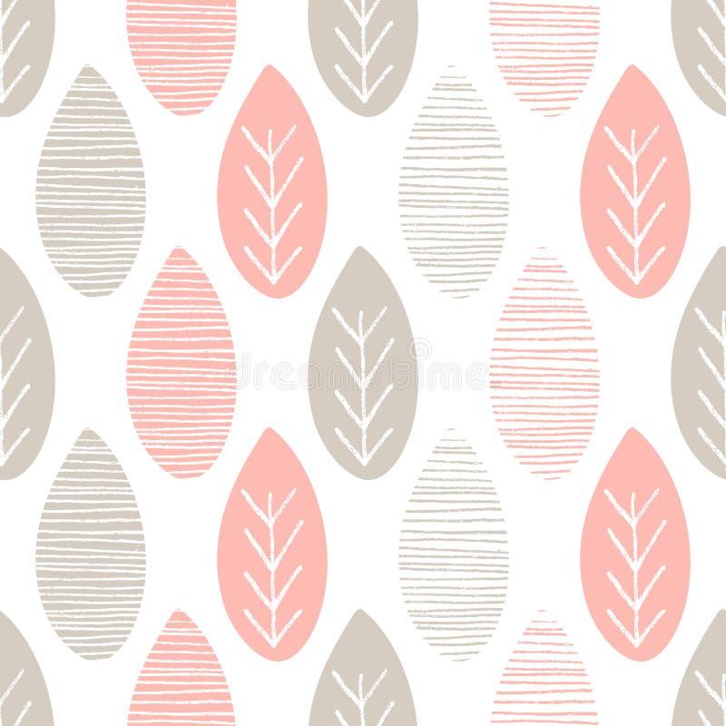 Bezszwowy pastelowy natura wektoru wzór Liście z liniami i gałązki na białym tle Ręka rysujący abstrakcjonistyczny wiosna ornamen ilustracji