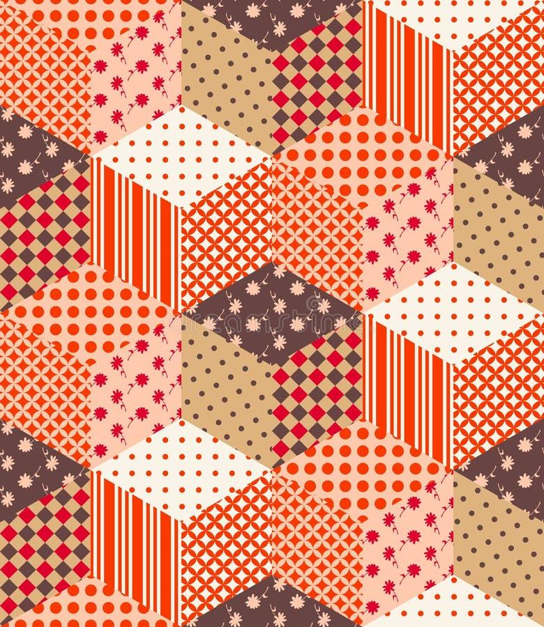Bezszwowy patchworku wzór od multicolor sześcianów royalty ilustracja