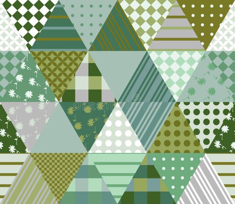 Bezszwowy patchworku wzór w zielonych brzmieniach również zwrócić corel ilustracji wektora ilustracja wektor