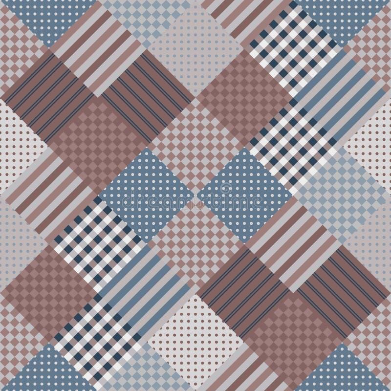 Bezszwowy patchworku wzór Wektorowa ilustracja kołderka w ciemnych brzmieniach ilustracja wektor