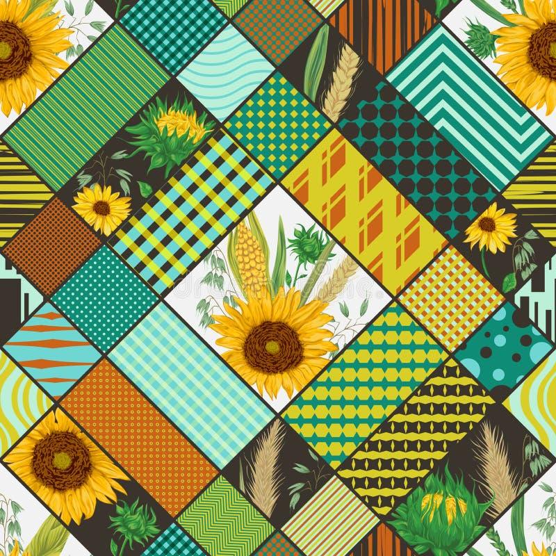 Bezszwowy patchworku wzór z zbożami, słonecznikami i geometrycznym ornamentem, ilustracja wektor