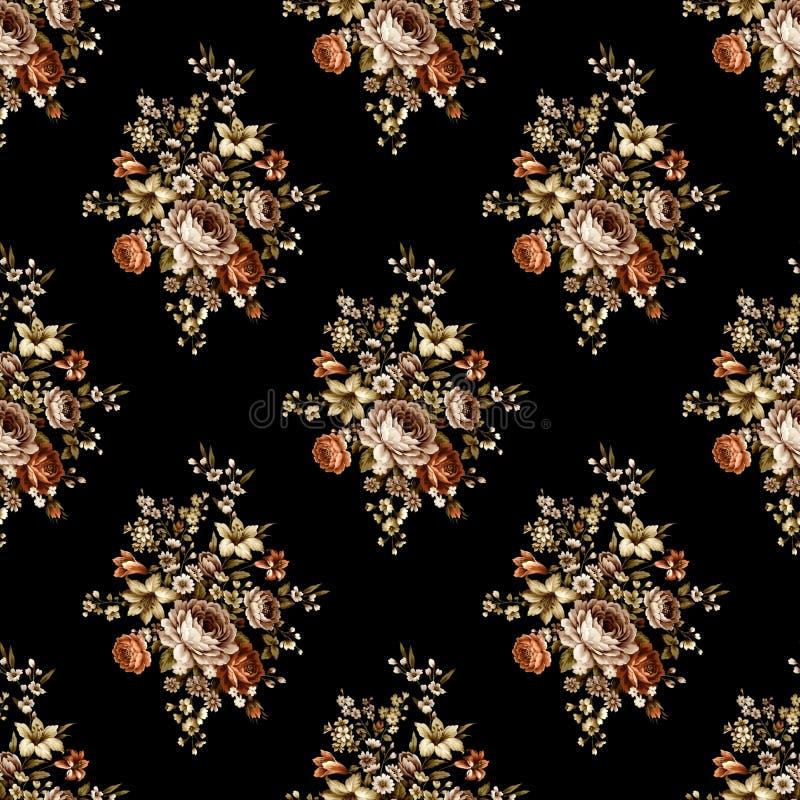 Bezszwowy piękny kwiatu wzór z czarnym tłem royalty ilustracja