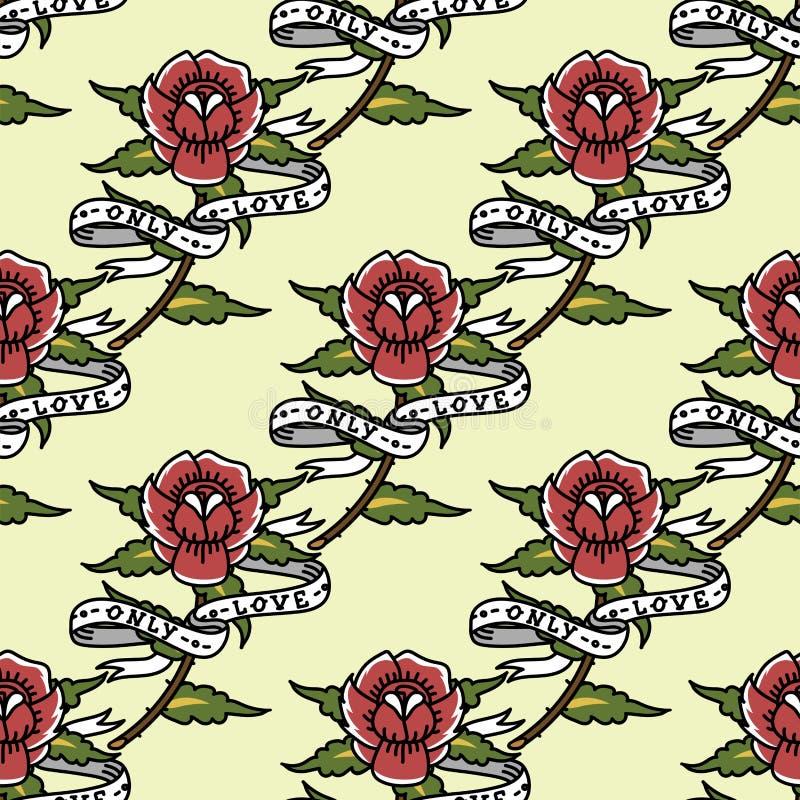 Bezszwowy piękny wzór z lato kwiatów tatuażu rocznika atramentu sztuki stylu wektoru starą retro ilustracją ilustracja wektor