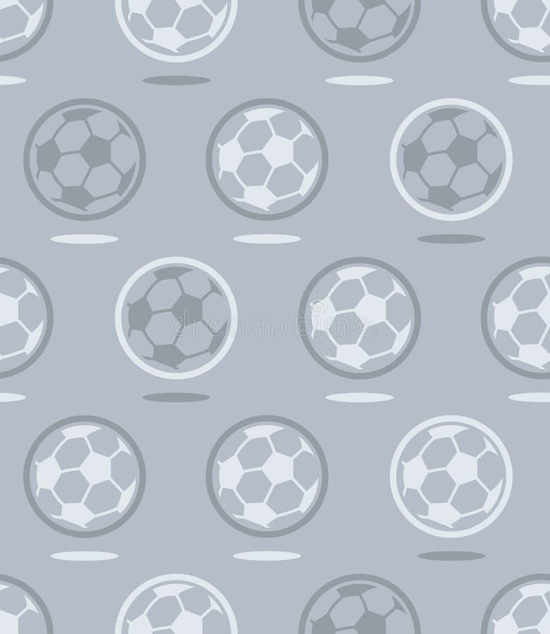Bezszwowy piłki nożnej piłki wzór nad szarość ilustracja wektor