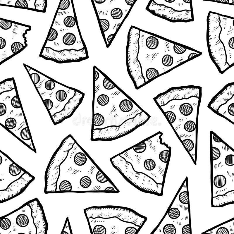 Bezszwowy pizza plasterka wektoru tło royalty ilustracja