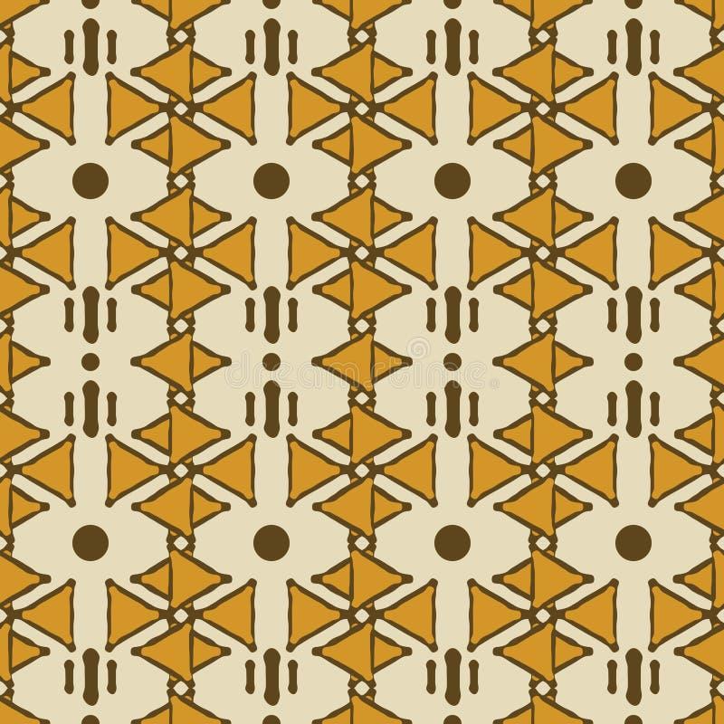 Bezszwowy plemienny etniczny złożony wzór trójboki i kropki ilustracja wektor