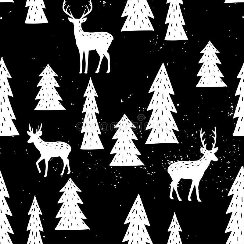 Bezszwowy pociągany ręcznie wzór z choinką i deers royalty ilustracja
