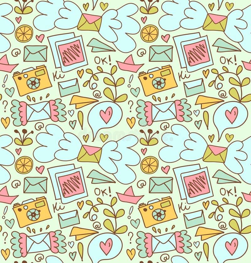 Bezszwowy poczta wzór Śliczny doodle tło z listami, kamerą, owoc i innymi beautty elementami, royalty ilustracja