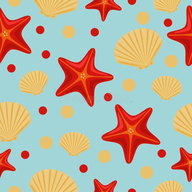 Bezszwowy podwodny morze wz?r z rozgwiazd? i skorup? Abstrakcjonistyczny powt?rki t?o, kolorowa wektorowa ilustracja mo?e u?ywa?  royalty ilustracja