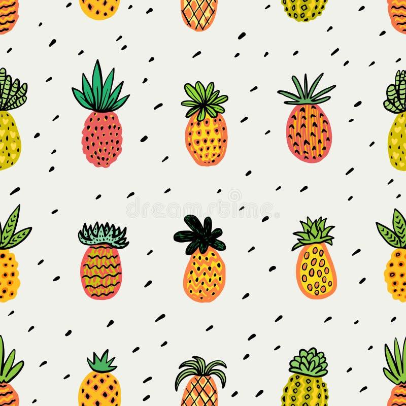 Bezszwowy pogodny ananasa wzór Dekoracyjny ananas z różnymi teksturami w ciepłych kolorach tła egzota owoc royalty ilustracja