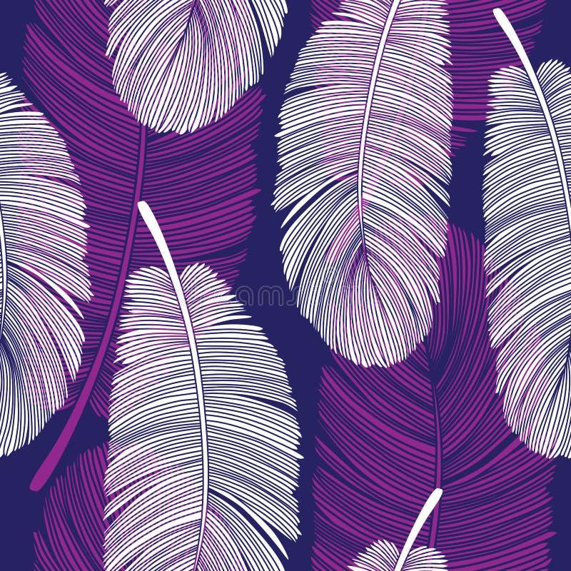 Bezszwowy Pokrywa się piórko wzór na Purpurowym i Białym royalty ilustracja