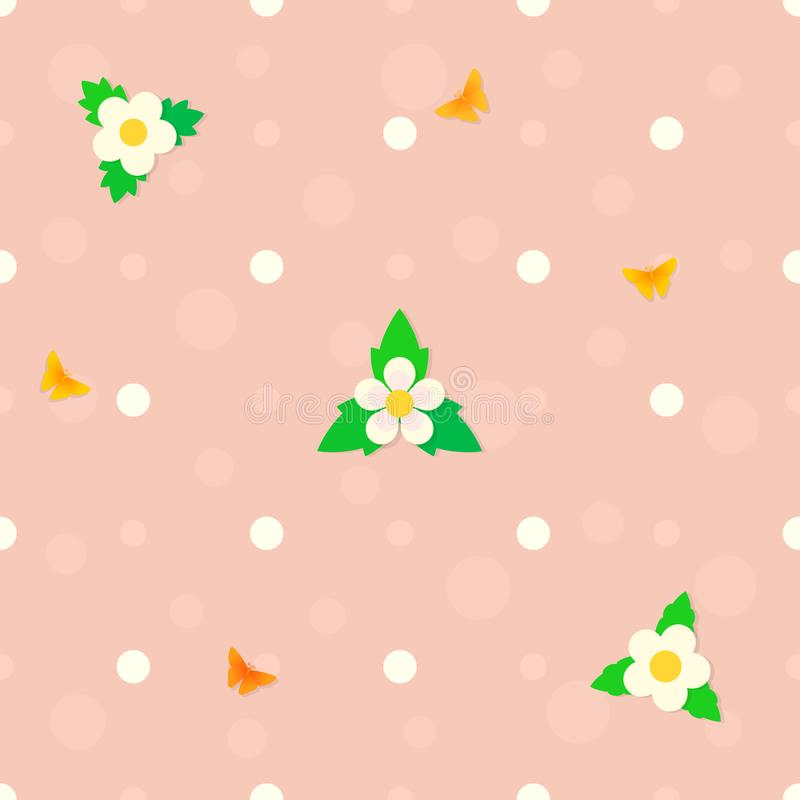 Bezszwowy polki kropki menchii tło z truskawka kwiatami, zieleń opuszcza, latający motyla, bąble wektor royalty ilustracja